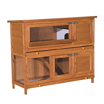 Pawhut 48 Inch Large Wooden Pet Rabbit Hutch And Run Hutches Cage