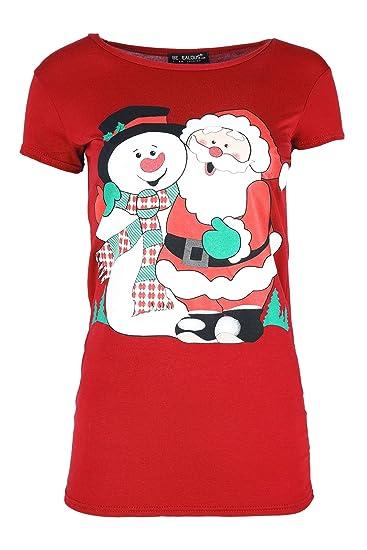 Mujer Navidad Camiseta de Mujer HoHoHo Muñeco de Nieve Sombrero Tapa Mangas Jersey Navidad Top Santa Hug Snowman Red S/M: Amazon.es: Ropa y accesorios