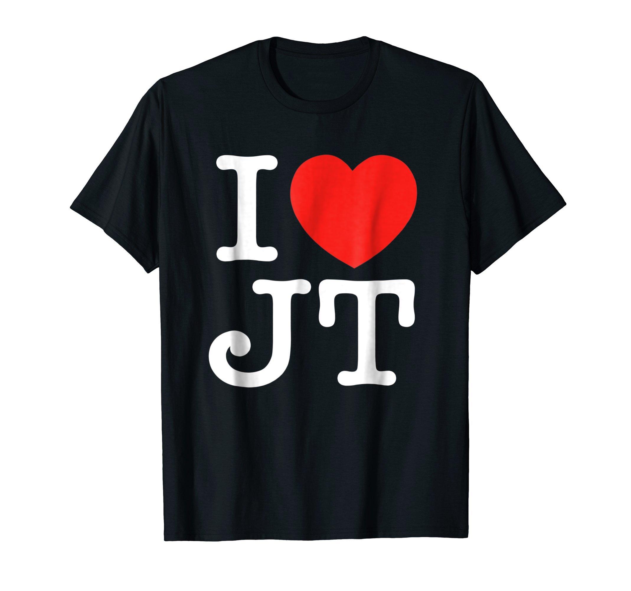 Mens I Love JT Heart Funny JT Gift T-Shirt Medium Black