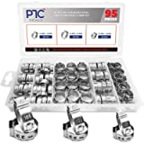 PATACO 95Pcs Single Ear Hose Clamps Stainless Steel, 3 Sizes Stepless Hose Clamps Assortment Kit PEX Pinch Hoses Clamp…