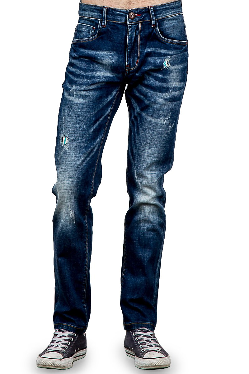 RNZ PREMIUM Men's R713 Ripped Stretch Skinny Jean w Faded Look and Whiskering 36W, D-Blue
