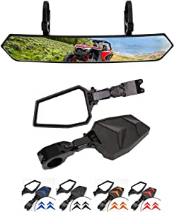 UTV RearView Center Mirror and UTV Rear View Side Mirrors Compatible with 2018 2019 2020 2021 Polaris RZR