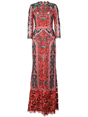 Marchesa Notte Women\'s 3/4 Sleeve Guipure Lace Evening Gown 16 Red ...