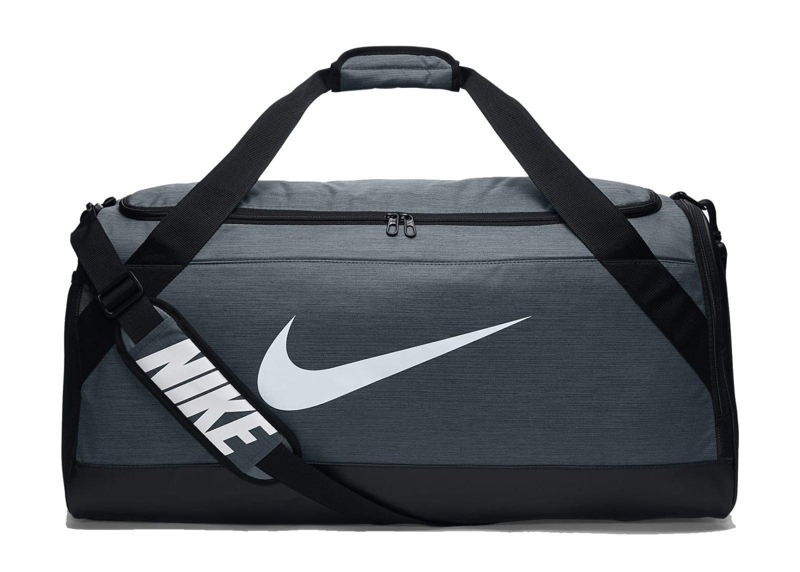 NIKE Brasilia Training Duffel Bag, Flint Grey/Black/White, Large