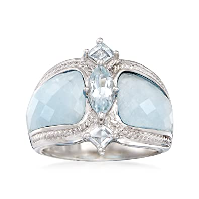 9d45908a242dd Ross-Simons Milky Aquamarine & .85 ct. tw Blue Aquamarine Ring in Sterling  Silver