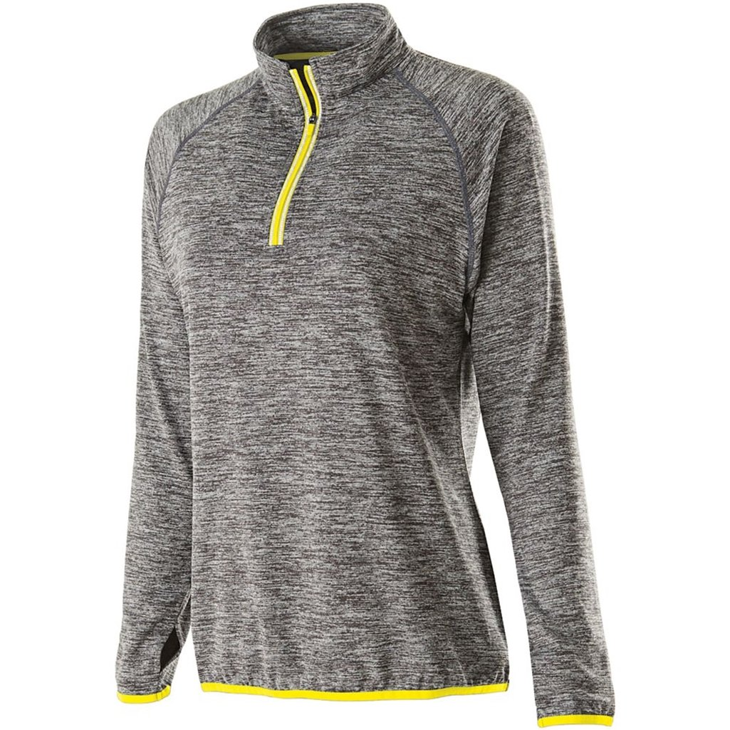 Holloway Ladies Force Training Top (X-Large, Carbon Heather/Bright Yellow) by Holloway
