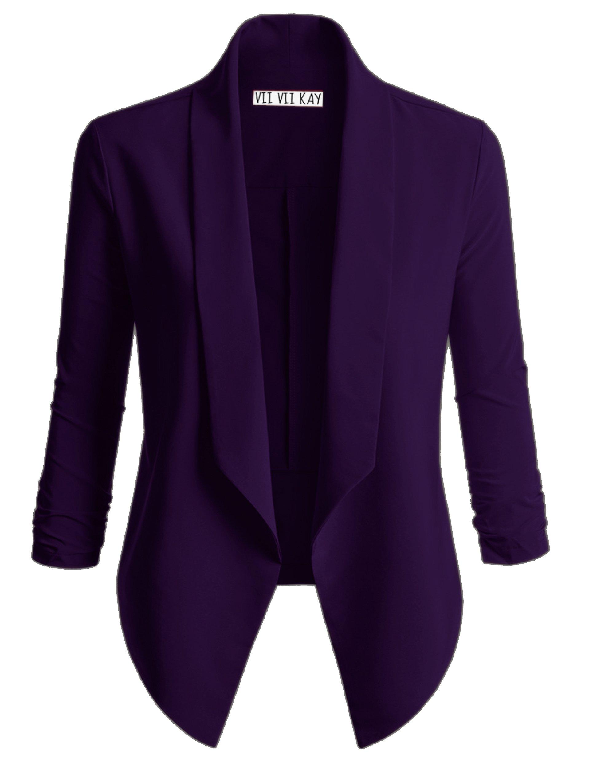 ViiViiKay Women's Versatile Business Attire Blazers in Multiple Styles 37_Purple M