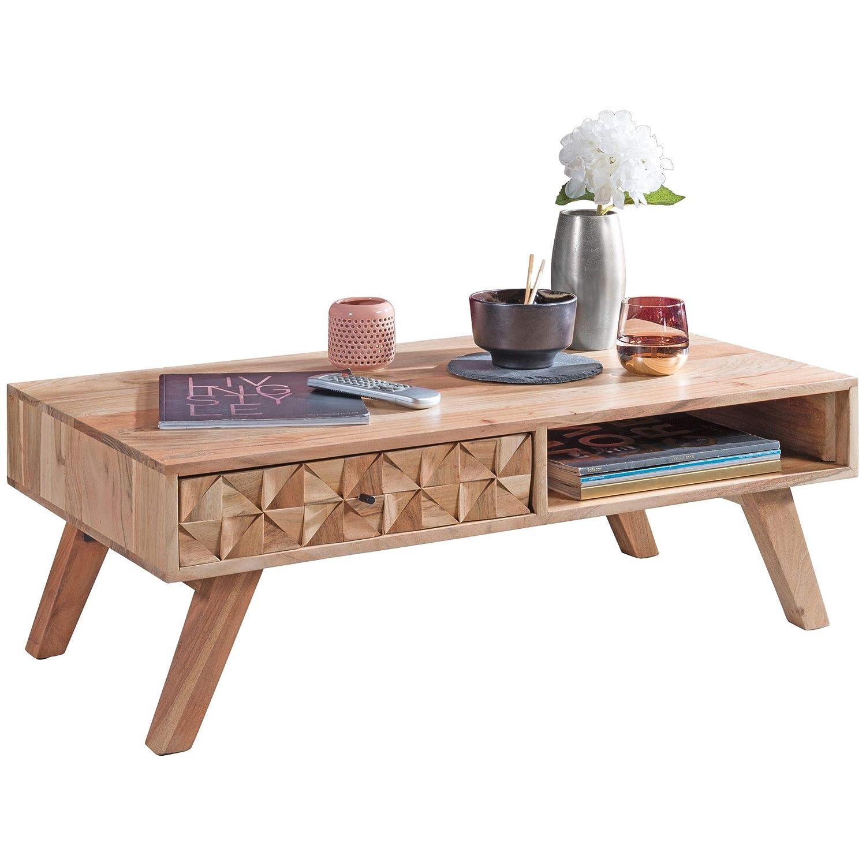 FineBuy Couchtisch RAWI 95x35x50 cm Akazie Massivholz Sofatisch | Design Wohnzimmertisch mit Schublade | Stubentisch Landhaus braun | Designer Holztisch Kaffeetisch massiv | Tisch Wohnzimmer modern