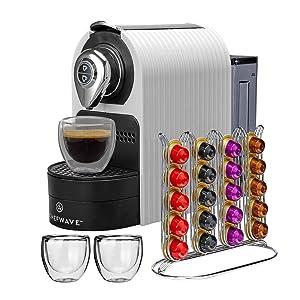 ChefWave Mini Espresso Machine - Nespresso Capsules Compatible - Programmable One-Touch 27 Oz. Water Tank, Premium Italian 20 Bar High Pressure Pump - 40 Pod Holder, 2 Double-Wall Glass Cups - White