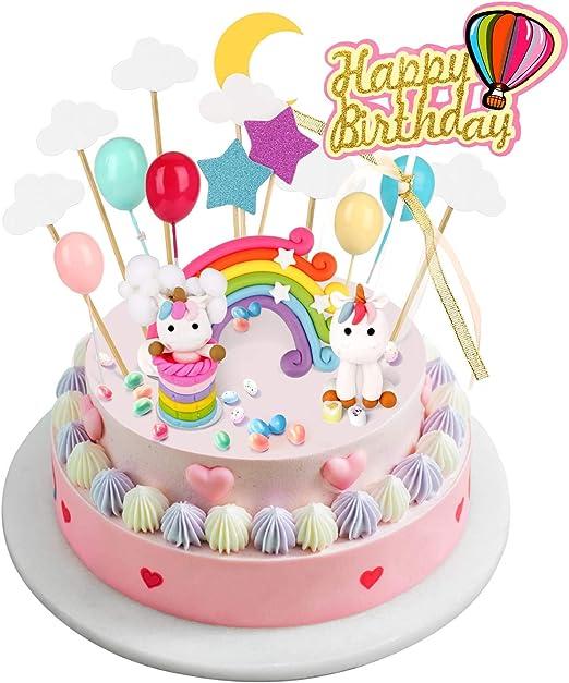 Sunshine smile Rainbow Cake Toppers,Arco Iris Decoraci/ón de Pasteles,Cupcake Topper Set,Adorno de Pastel de Bebe,Decoracion Tarta Unicornio