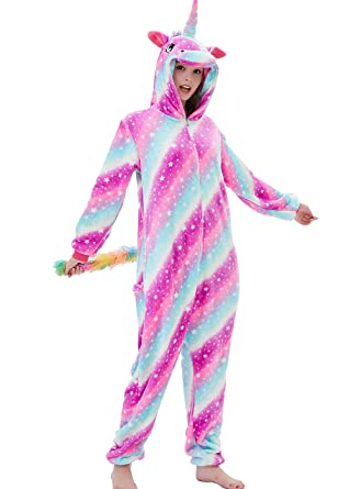 fc6a24b40603 ABENCA Zip up Fleece Onesie Pajamas for Women Adult Cartoon Animal Unicorn  Halloween Christmas Cosplay Onepiece