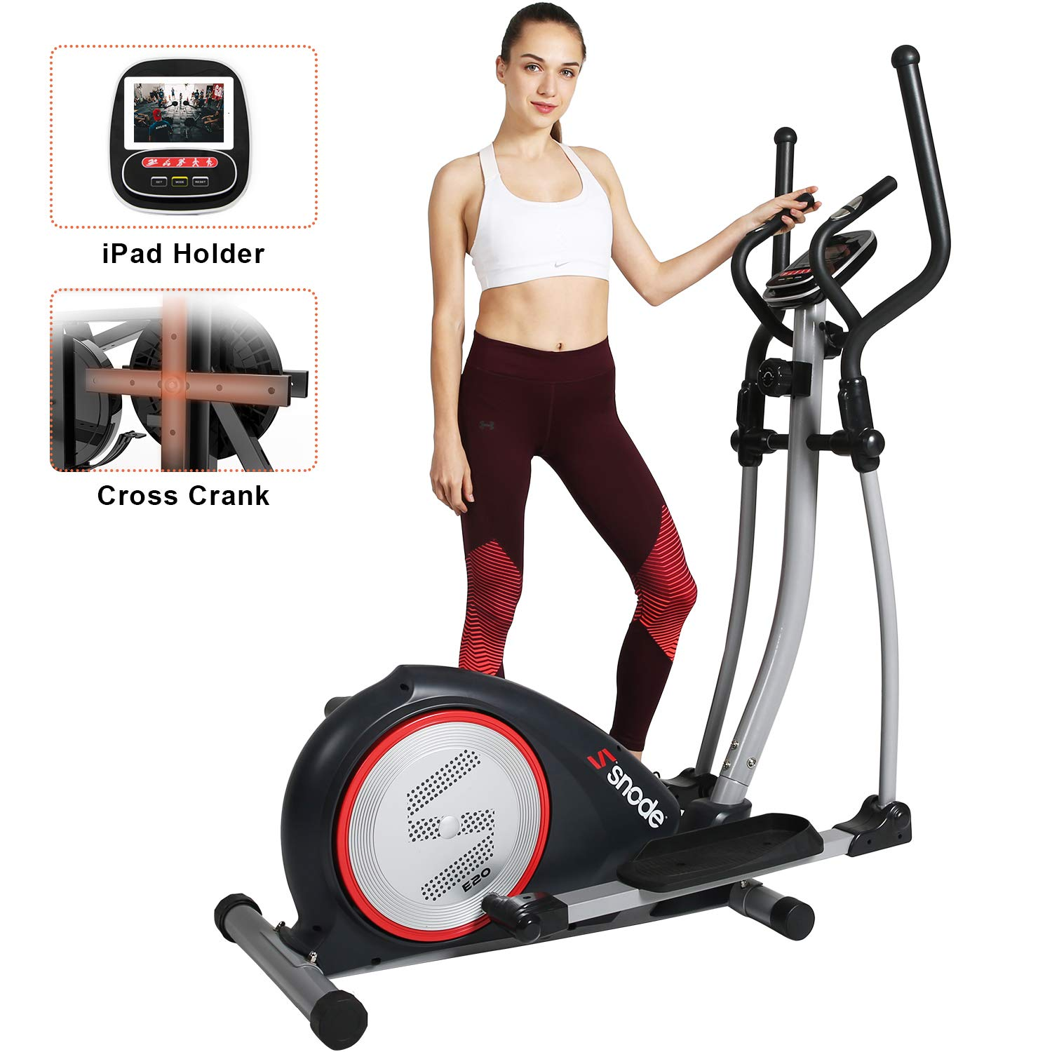 SNODE Elliptical Machine Trainer, Magnetic Elliptical Exercise Training Machine with Cross Crank and LCD Monitor(Model: E20 New) ... by SNODE