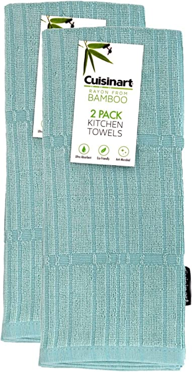 Amazon Com Cuisinart Bamboo Kitchen Towels 2pk Pastel Turquoise Soft Absorbent Durable Kitchen Hand Towel Set Perfect For Drying Dishes Or Hands 16 X 26 Inches Bamboo Cotton Blend Home Kitchen