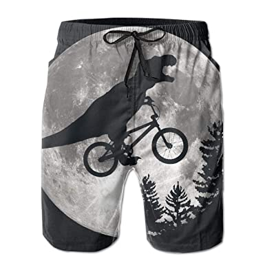 7bcb11b3586c5 Dinosaur Bicycle Moon Tree Mens Swim Trunks Quick Dry Board Shorts Summer  Elastic Waist Swimwear with