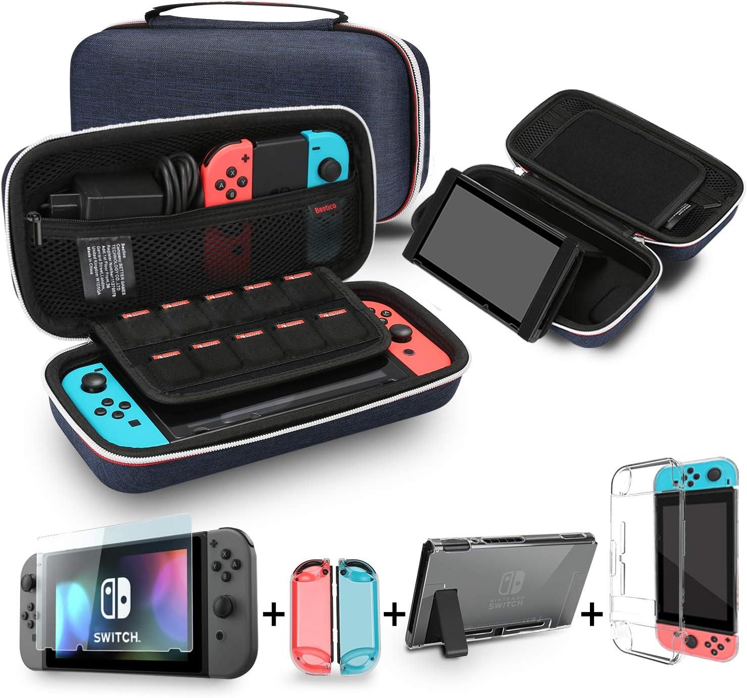 Bestico Kit de Accesorios para Nintendo Switch, incluye un Funda con Soporte para Nintendo Switch, 1 Cristal Templado Protector de Pantalla , Transparente Estuche Protector(3 en 1)