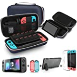 Bestico 3 in 1 Accessories Kits for Nintendo Switch, Include Carrying Case with Stand for Nintendo Switch , 1pc Tempered Glass Screen Protector, Dockable Crystal Clear Cover (Classic Blue)