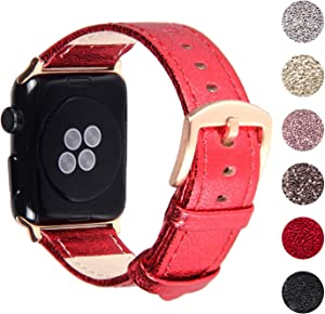 Pantheon Compatible Apple Watch Band 44mm / 42mm Bling Leather Glitter Bands for Women - Series SE 6 5 4 3 2 1 - Shiny Red
