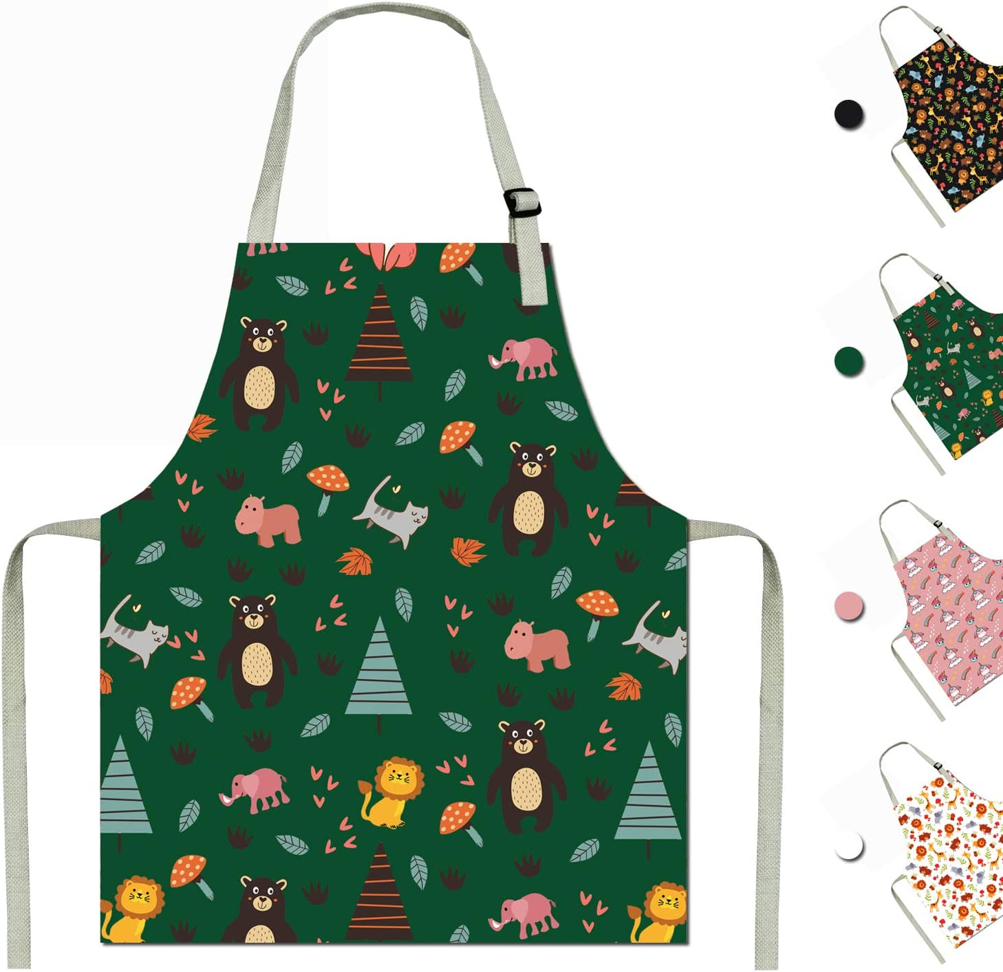 SOTOGO 2 Pack Child Apron Kids Painting Art Apron Cotton Apron for Toddlers Age 3-5