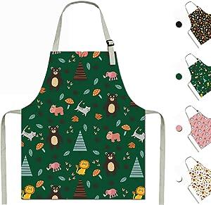 Apron for Kids Children Toddler Boys Girls Cooking Baking Painting Gardening School Kitchen Art Age 6-12 (Green, Large)