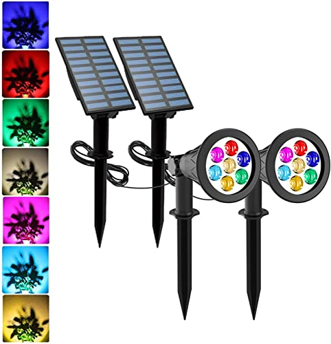 Solar Spotlights, T-SUNUS Color Changing 7 LED Waterproof Outdoor Garden Wall Lights, Auto-on Off, 180 Angle Adjustable Landscape Light, Separately Installed for Outdoor Indoor Pack of 2 7 Color