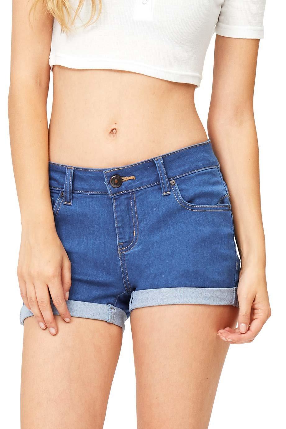 Wax Women's Juniors Perfect Fit Mid-Rise Denim Shorts (XXX-Large, Blue)