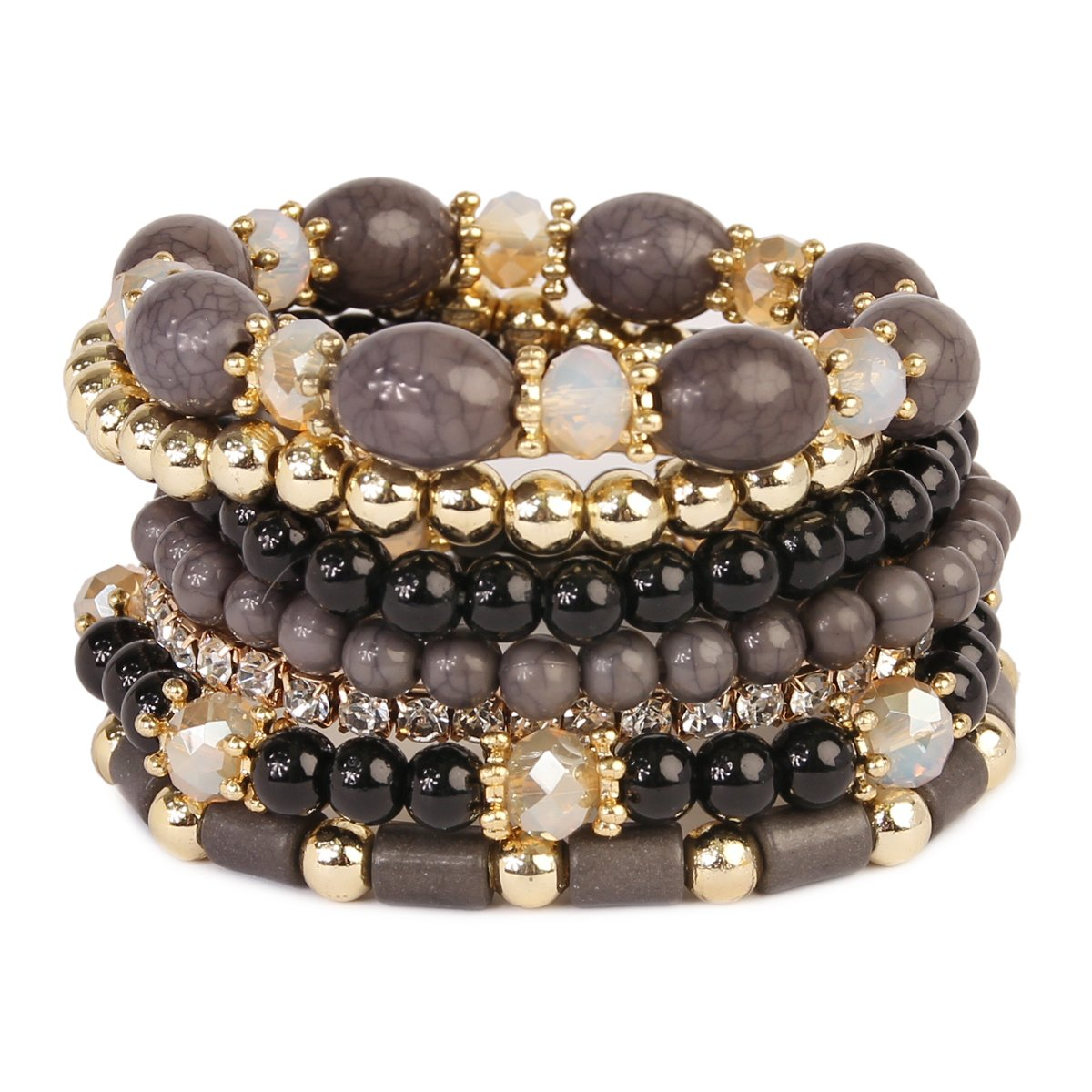 MYS Collection RIAH Fashion Multi Strand Bead Layering Statement Bracelets - Colorful Beaded Strand Stretch Bangles (Black)