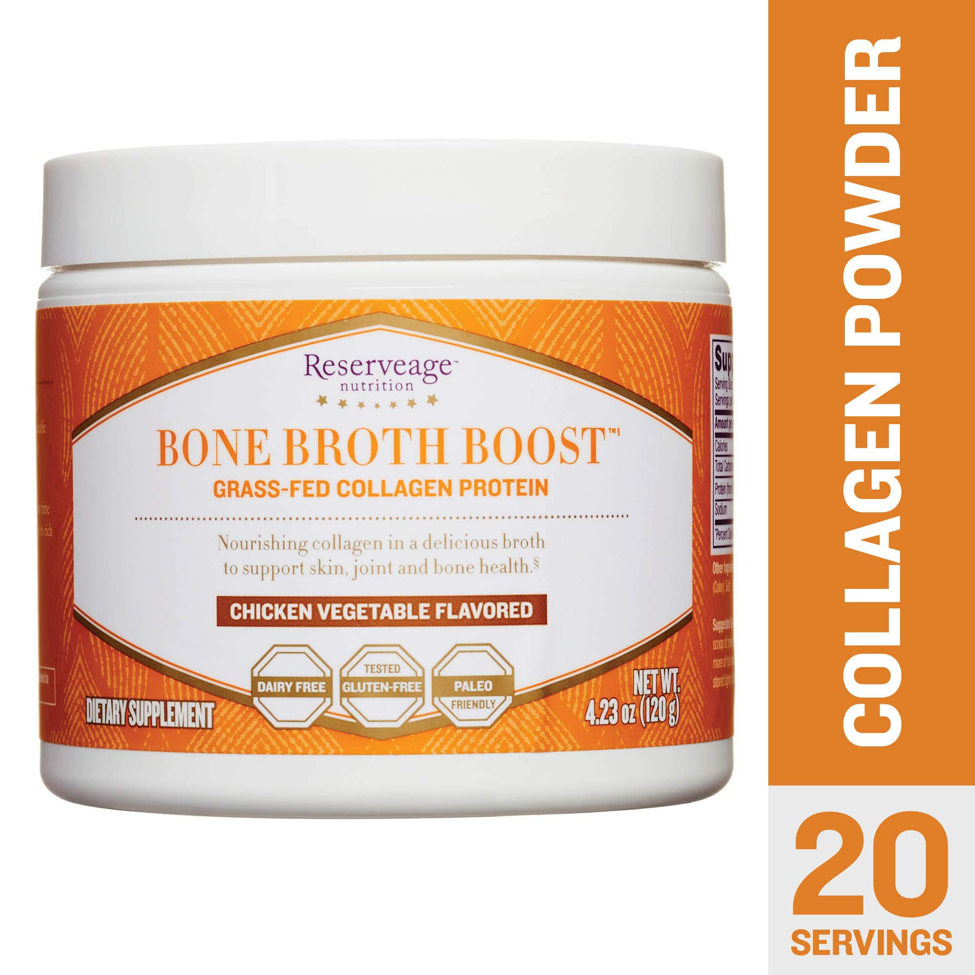 Reserveage - Bone Broth Boost Powder, Grass-Fed Collagen Protein to Support for Strong Joints, Bones, and Youthful Skin, Dairy Free, Gluten Free, Paleo, Chicken Vegetable, 4.23 oz (20 Servings) by Reserveage Nutrition