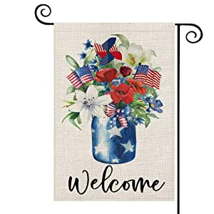 AVOIN Welcome Watercolor Corn Poppy Lily Vase USA Flag Pinwheel Garden Flag Vertical Double Sided, Patriotic 4th of July Independence Memorial Day Yard Outdoor Decoration 12.5 x 18 Inch