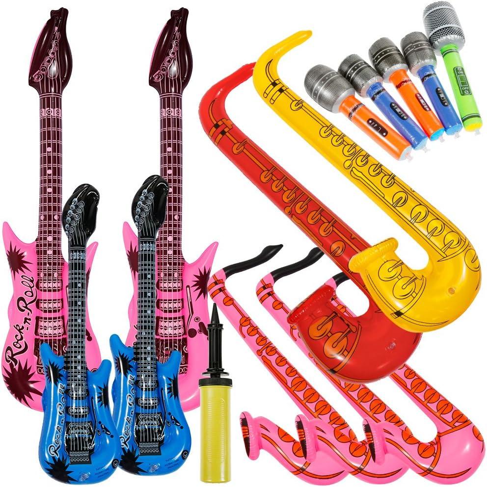 Lictin 14 pcs Inflables de Juguete Inflable Guitarra micrófono saxofón música Prop para Fiesta,Piscina(Multi tamaños)