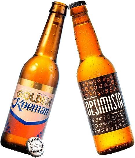Cerveza artesanal La Lenta (6 botellas de 33 cl: 3 Optimista/Pesimista + 3 Golden Koeman): Amazon.es: Alimentación y bebidas