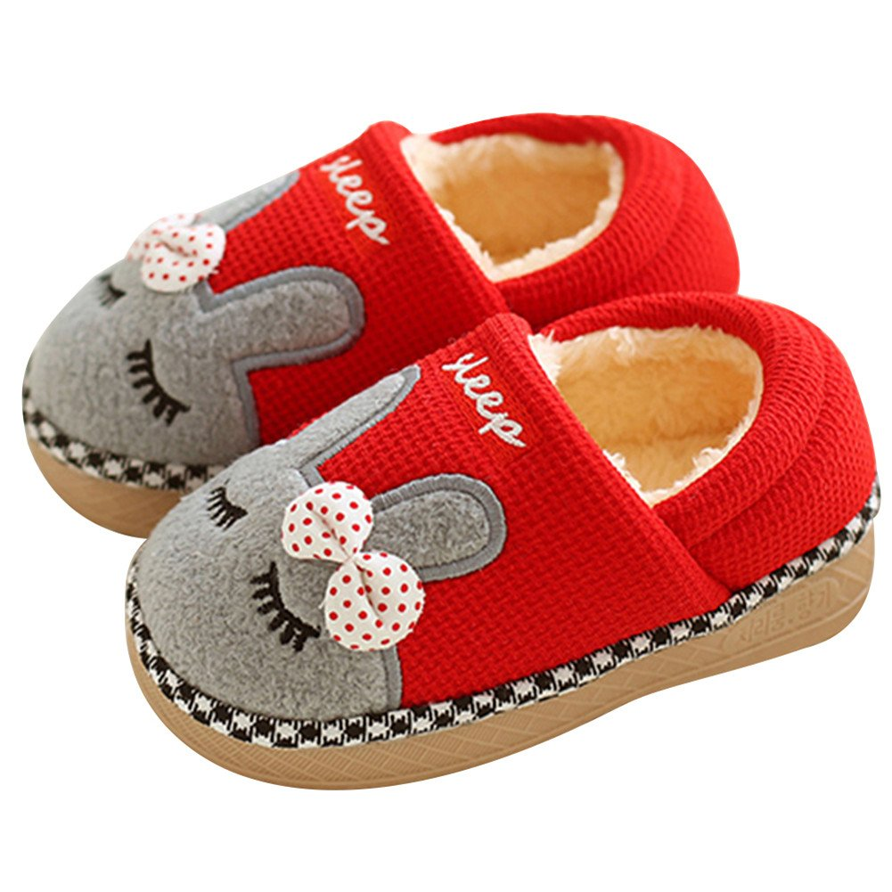 SITAILE Cute Home Shoes, Kids Fur Lined Indoor House Slipper Bunny Warm Winter Home Slippers for Girls(Toddler/Little Kid) (Toddler 5-5.5(M) B US, Cover Heel Red)
