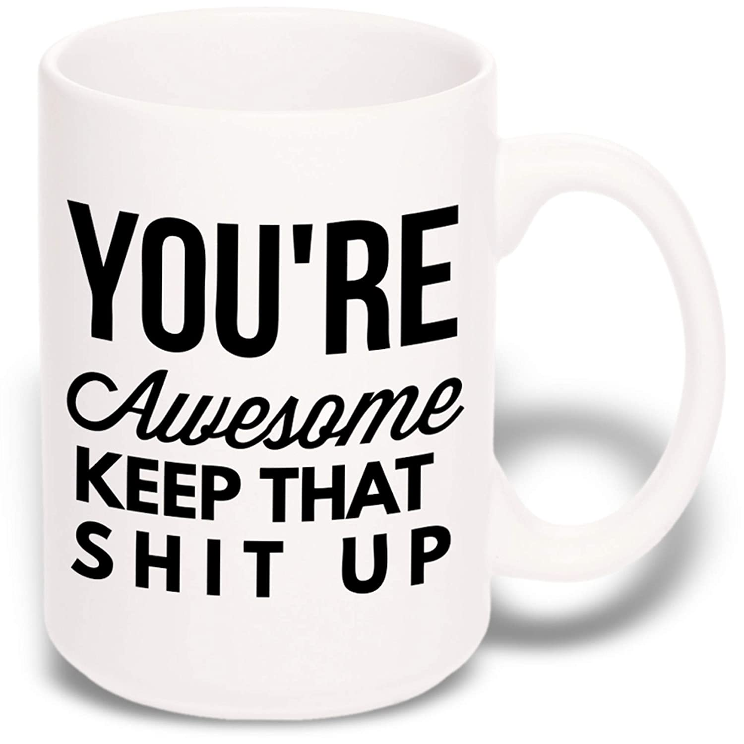 15 oz Large Funny Coffee Mug: You're Awesome Unique Ceramic Novelty Holiday Christmas Hanukkah Gift for Men & Women Who Love Tea Mugs & Coffee Cups Gypsy's Cart