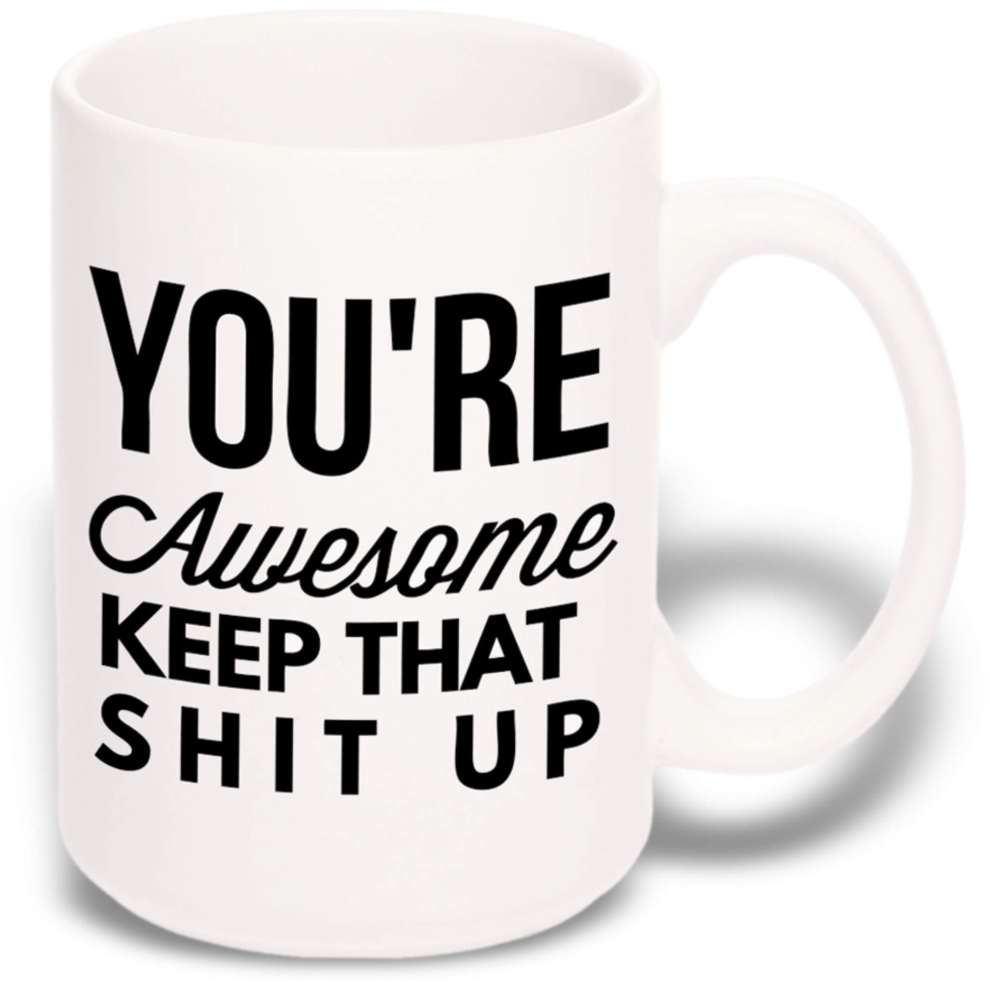15 oz Large Funny Coffee Mug: You're Awesome Unique Ceramic Novelty Holiday Christmas Hanukkah Gift for Men & Women Who Love Tea Mugs & Coffee Cups by Gypsy's Cart