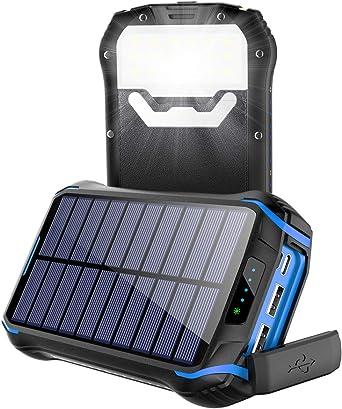 Cargador Solar 26800mAh, Solar Power Bank con 3 Puertos USB, Soluser Batería Externa Solar 18 LED Linterna con Tecnología de Detección Automática para ...