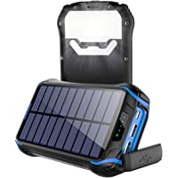 Cargador Solar 26800mAh, Solar Power Bank con 3 Puertos USB, Soluser Batería Externa Solar 18 LED Linterna con…