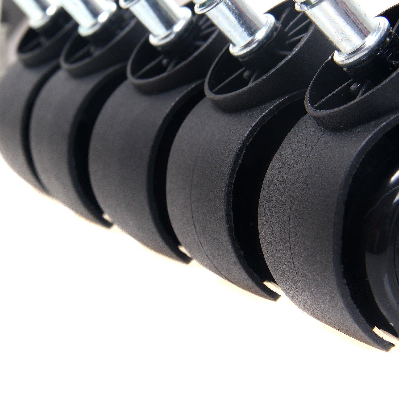 TUKA 5X Set Hartbodenrollen mit externer Bremsen, Bürostuhl Drehstuhl Rollen Stift 11 mm, Stuhlrollen Parkett, Büro-Stuhl-Rollen für Hartböden, Einstellbare Externe Bremse, Grau, TKD3202 Grey TUKAI