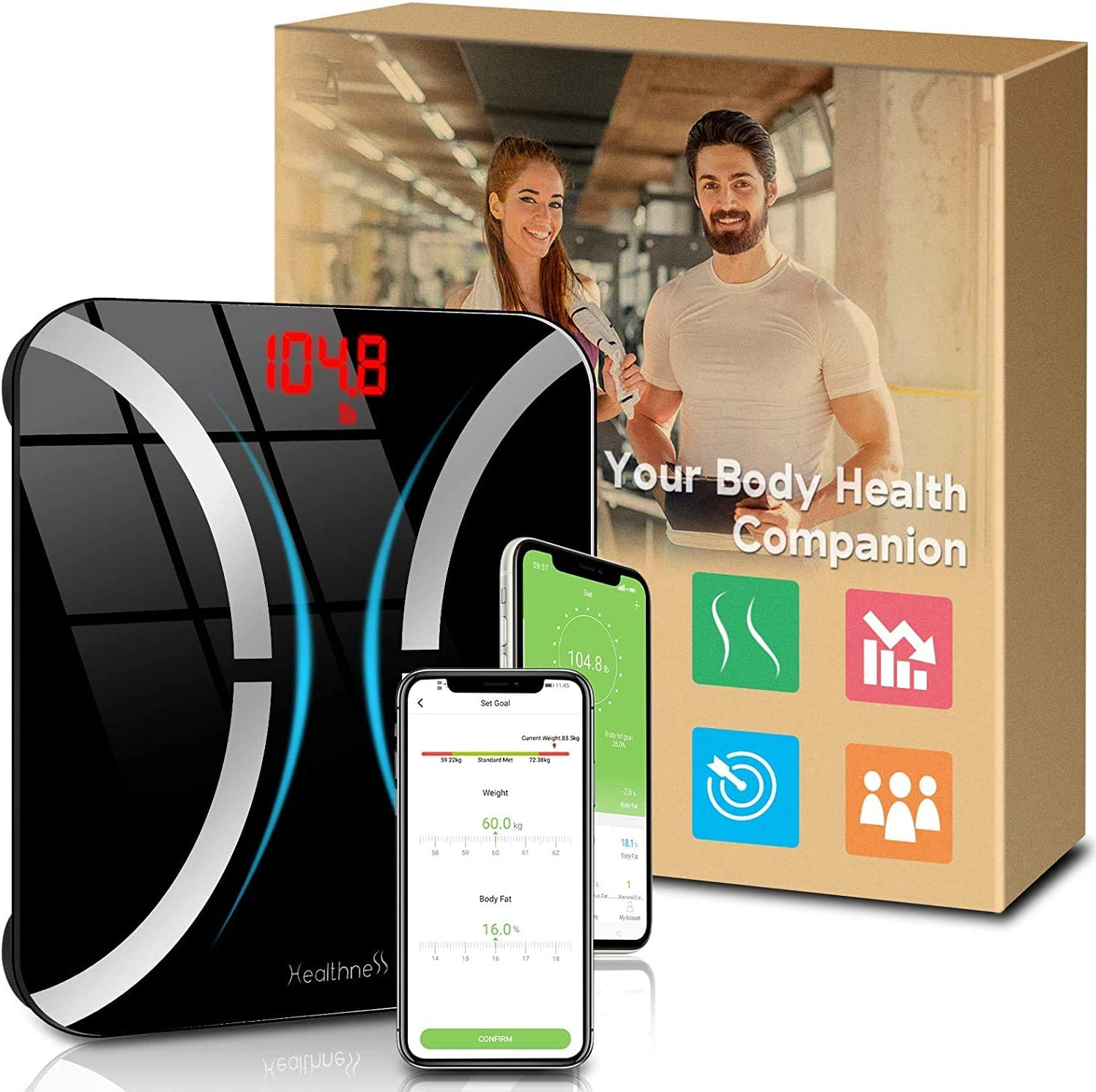 Body Fat Scale, Digital Bathroom Scale Bluetooth Weight Scale with BMI and Body Fat Percentage, Wireless Smart Scale Body Composition Analyzer Health Monitor with iOS Android App for Weight Loss