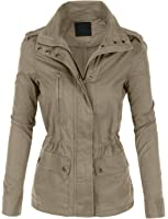 LE3NO Womens Anorak Utility Safari Military Jacket with Pockets