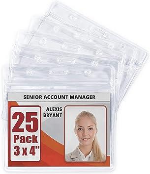 MIFFLIN Horizontal Badge Holder Clear, 2.25 x Waterproof Plastic Card Holders