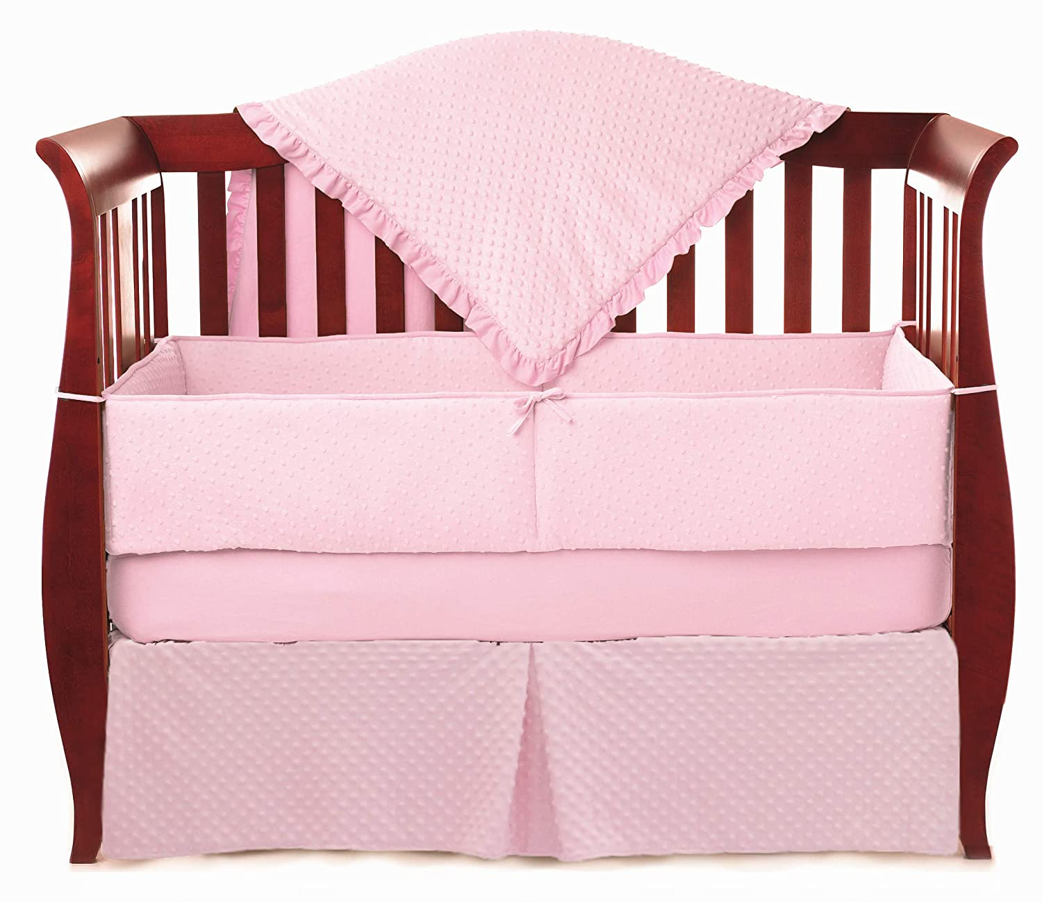 B000GXCBQ2 American Baby Company Heavenly Soft Minky Dot 4-Piece Crib Bedding Set, Pink, for Girls 71dss4ecZFL