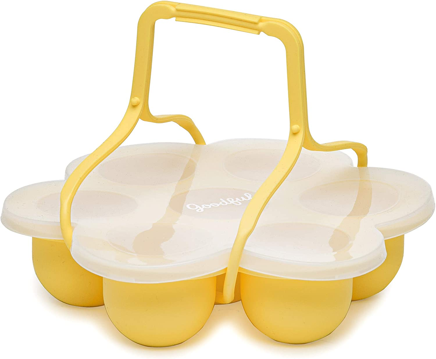 Goodful Premium Silicone Egg Bites Mold Accessories for Instant Pot, Ninja Foodi & Other Pressure Cookers with Handle and Lid, Dishwasher Safe, 7-Cup, Yellow