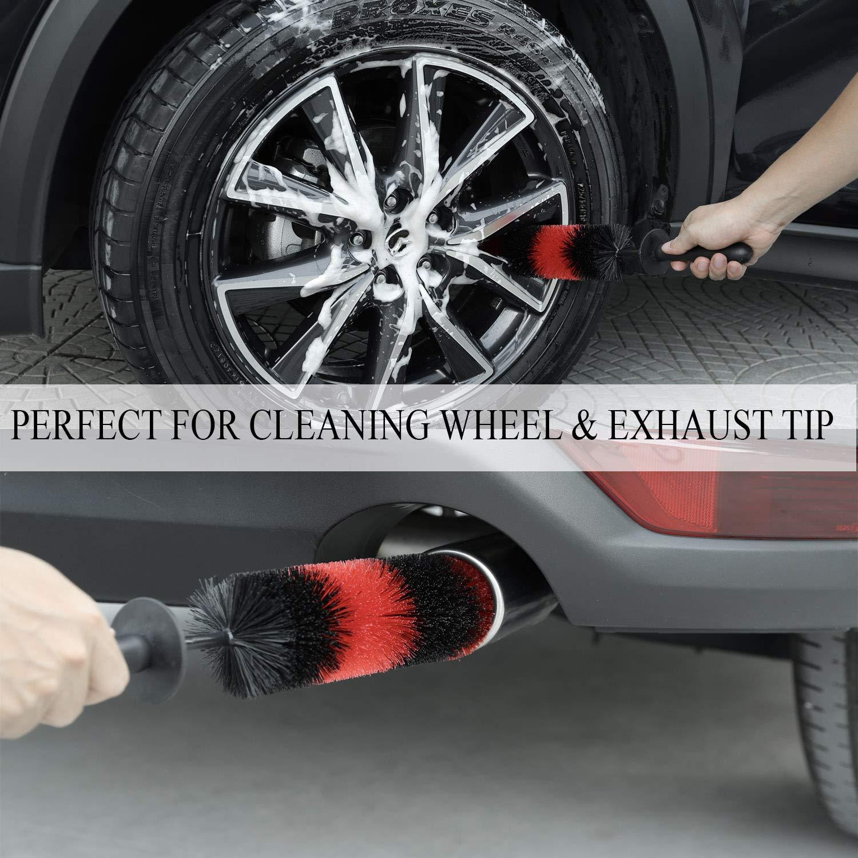 Car Wheel Brush Easy Reach Wheel and Rim Detailing Brush 18/'/' Long Soft Bristle Rim Tire Detail Brush,Multipurpose use for Wheels,Rims,Exhaust Tips,Motorcycles ASEOK Master Wheel Brush