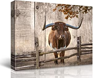 Animal Rustic Wall Decor Canvas Wall Art of Texas Longhorns for Bathroom Bedroom Wall Decoration Animal Country Farmhouse Themed Print Picture Artwork for Kitchen Rustic Home Decor Size (24x32inch NO Framed)