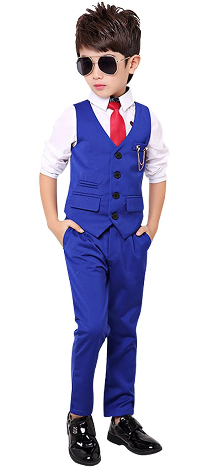 Boys Tuxedo Suits Set 2 Piesce Slim Fit Vest Set for Spring Summer 2Y-10Y Luobobeibei