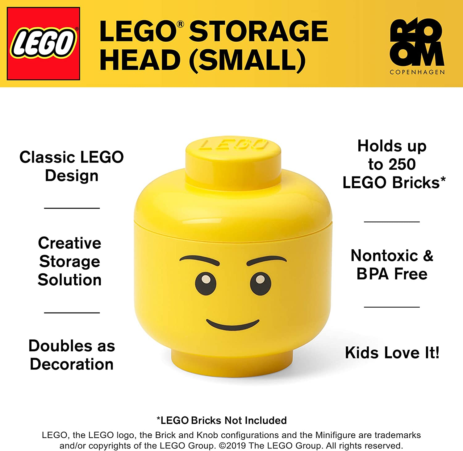 Lego 2x Single Coloured Head in Blue without Print New Blue Head Plain