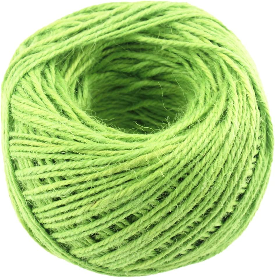 Light Green 100M//Roll 2mm Natural Jute Rope Hemp Twine Strong Cord Thick Rope String for DIY Craft Home Garden Deco