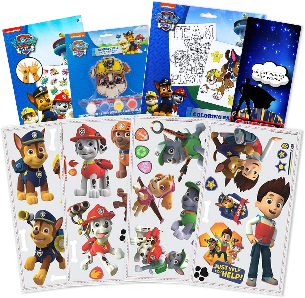 RoomMates Paw Patrol Wall Decals Bundle ~ 37 Pc Paw Patrol Room Decor Set with Paw Patrol Coloring Posters and Suncatcher Paint! (Paw Patrol Decals)