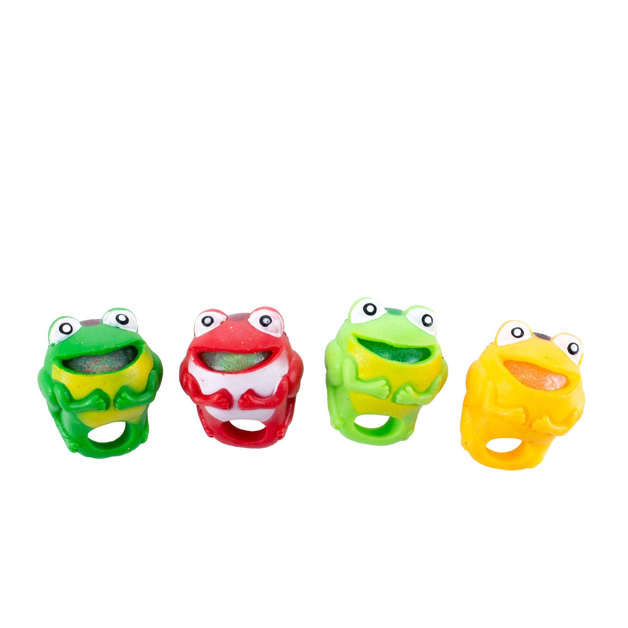 Master Toy Squeeze Frog Multicolored 2 x 2 Acrylic Children's Pretend Play Rings Set of 4 by Master Toy