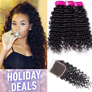 Tinashe Hair Brazilian Deep Wave Hair Bundles With Closure 8a Virgin Human Hair Extensions Deep Curly