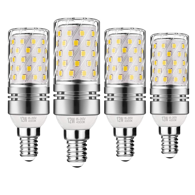 Gezee LED Plata Maíz Bombillas 12W E14 4000K Blanco Frío LED Candelabros bombillas, 100 W Bombilla Incandescente Equivalente, 1200lm, LED vela Bombillas No ...